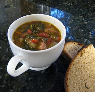 Kale and White Bean Soup with Spicy Andouille Sausage | Recipe