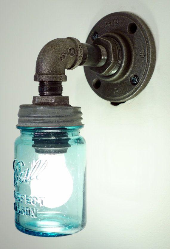 Small Black Wall Sconces : Small Mason Jar Wall Sconce Light Black Iron Industrial Steampunk Sty?