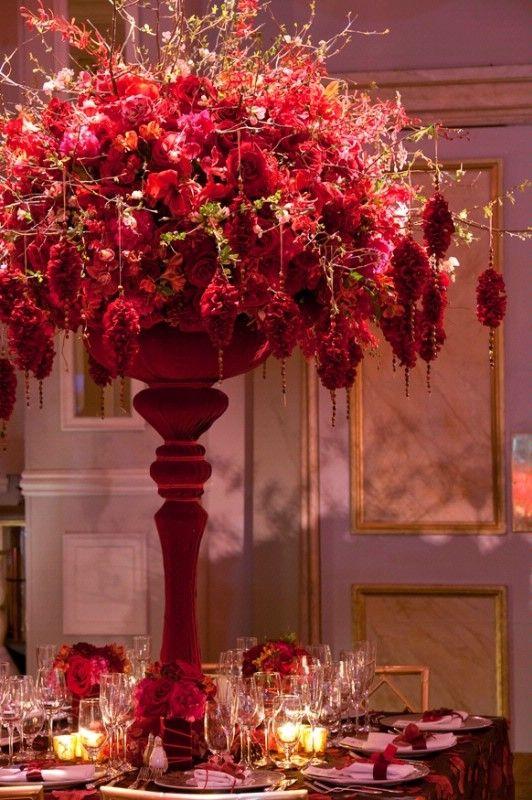 Beautiful tall centerpiece a red wedding arrangements