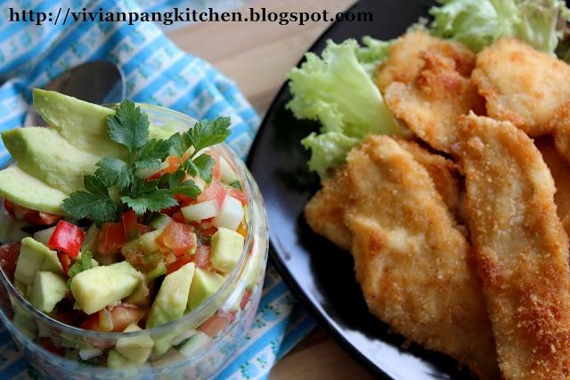 Crispy chicken (with avocado salsa); dinner