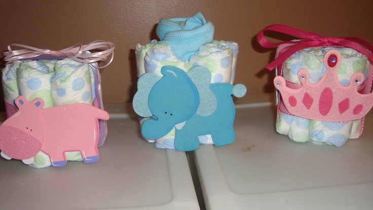 diaper cakes baby shower centerpieces princess crown hippo elephant