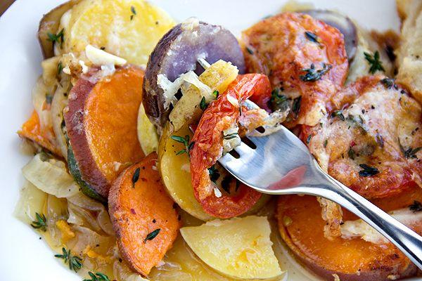 ... Four Potato Gratin with Thyme, Caramelized Onion, Tomato, and Squash