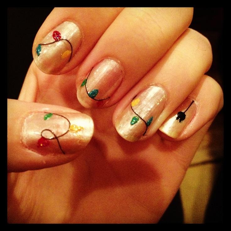 Christmas light nails | Christmas | Pinterest
