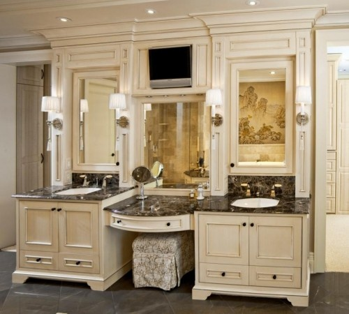 Excellent Like Vanity Color Glass Shelves  Transitional  Bathroom  New Orleans  Decorating Den Interiors Master Bathroom Remodel Decorating Den Interiors Love This For Knee Space Vanity Area, More Built In Mirror Consider Magnifying