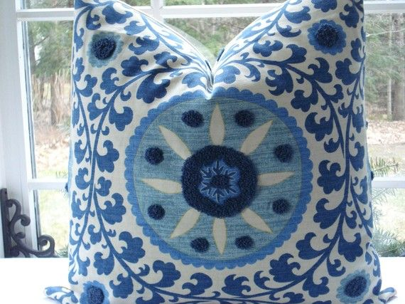 Blue and white suzani pillow