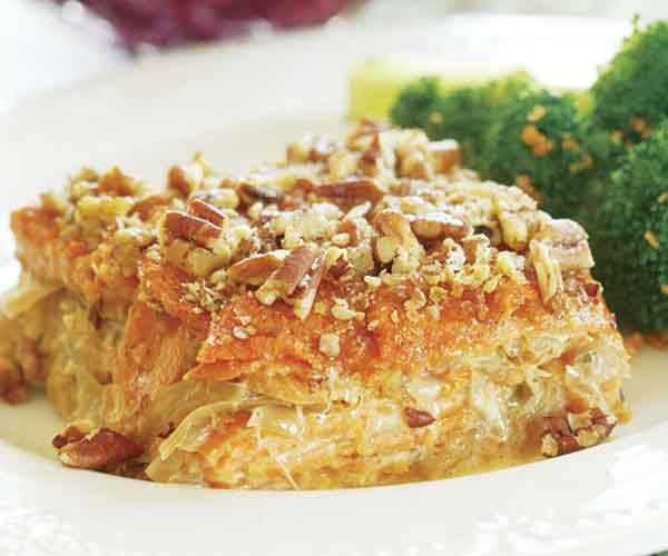 Sweet Potato Gratin with Caramelized Onions | Recipe