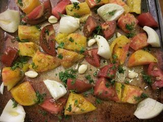 """... sweet.: Roasted Heirloom Tomato Soup with Parmesan Tomato """"Croutons"""