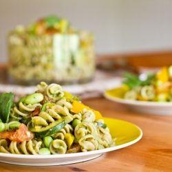 Vegetable and Edamame Pasta with Vegan Basil Cream Sauce.