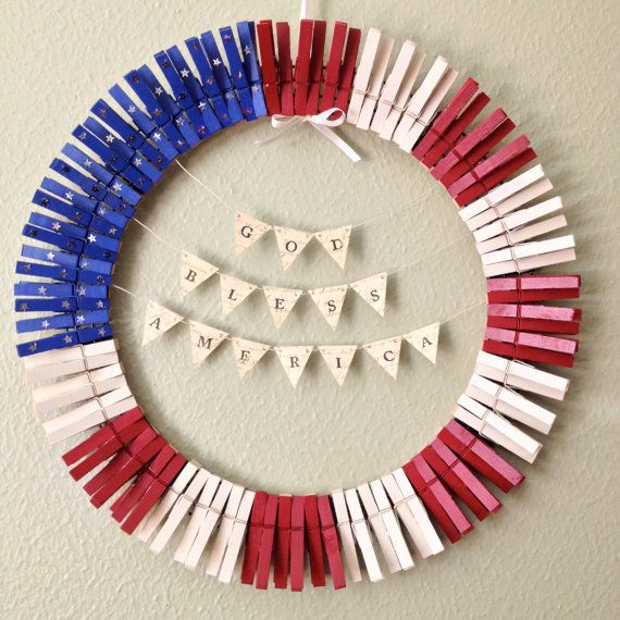 4th of july clothespin wreath tutorial