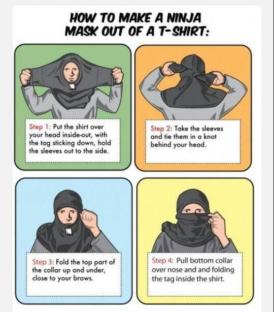 Как сделать ниндзя маску из футболки