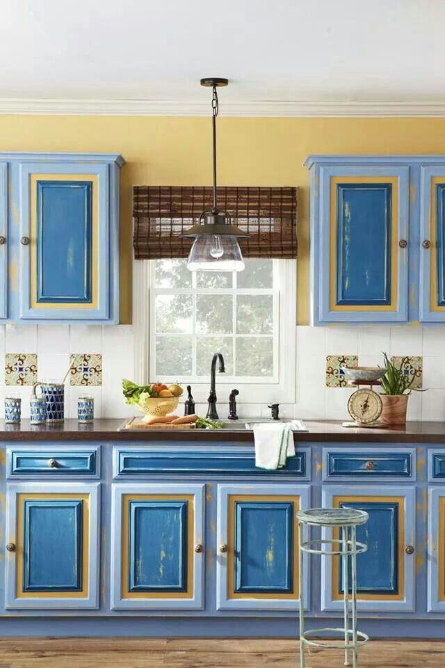 Blue and yellow kitchen home pinterest for Yellow and blue kitchen ideas