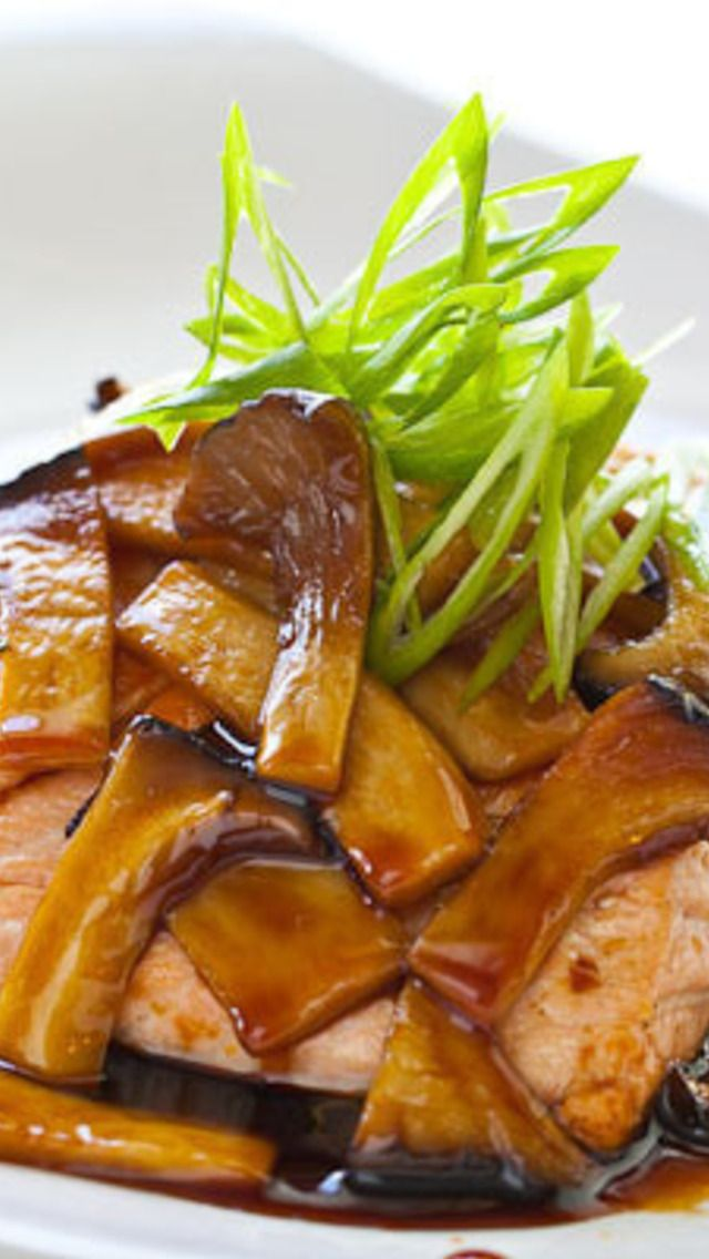 Teriyaki Mushroom Sauce with Grilled Salmon