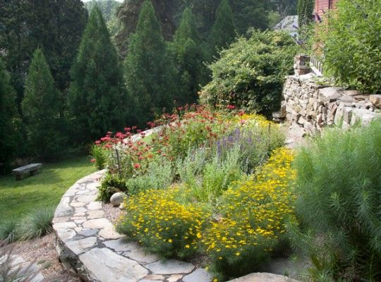 Planting beds are built into the terracing of this Victorian stone garden.
