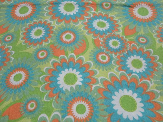 Fabric Lime Green Orange And Blue Floral Print On Etsy