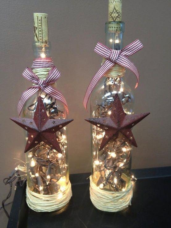Wine bottle star lights wine bottle lights pinterest for Light up wine bottles