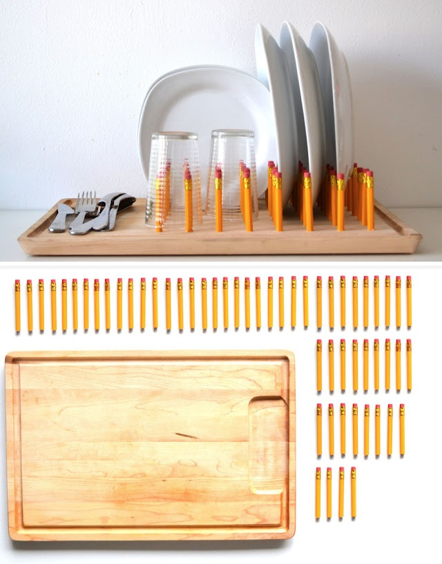 How to make a pencil dish rack.