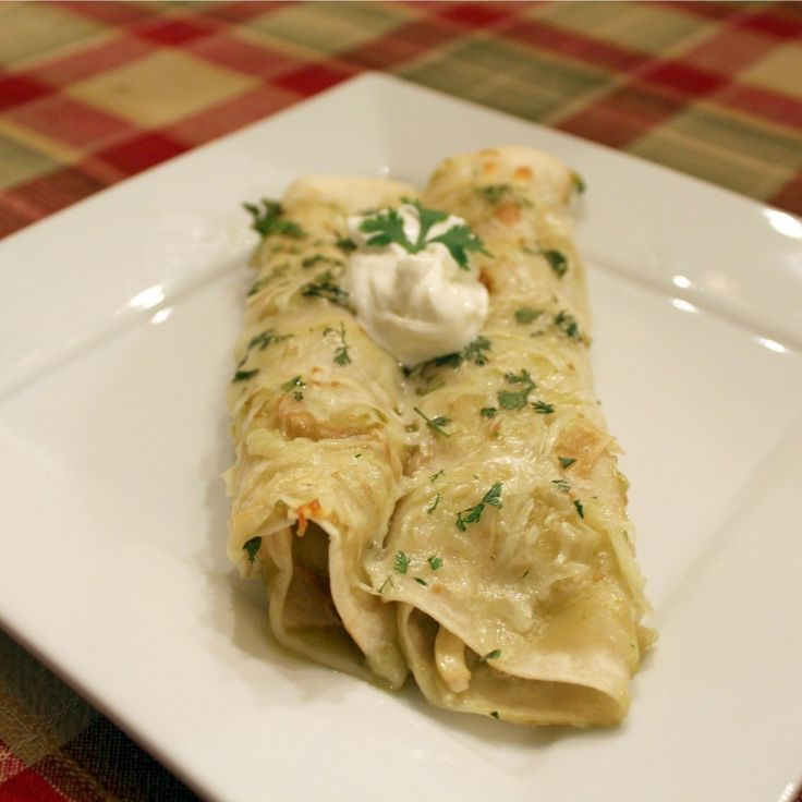Chicken Enchiladas Verde. These are delicious and my whole picky ...