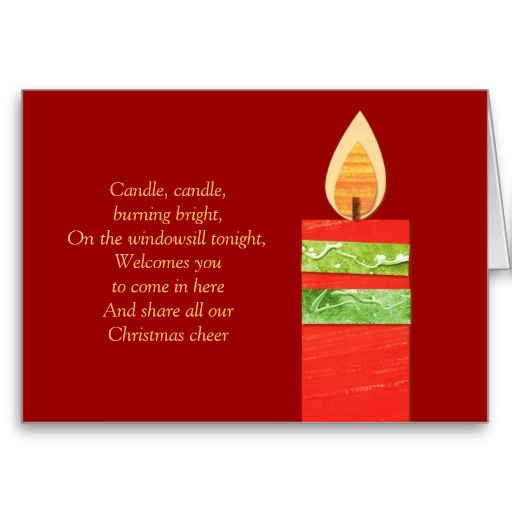 Candle poem Christmas red card. Poem and art and design by www ...
