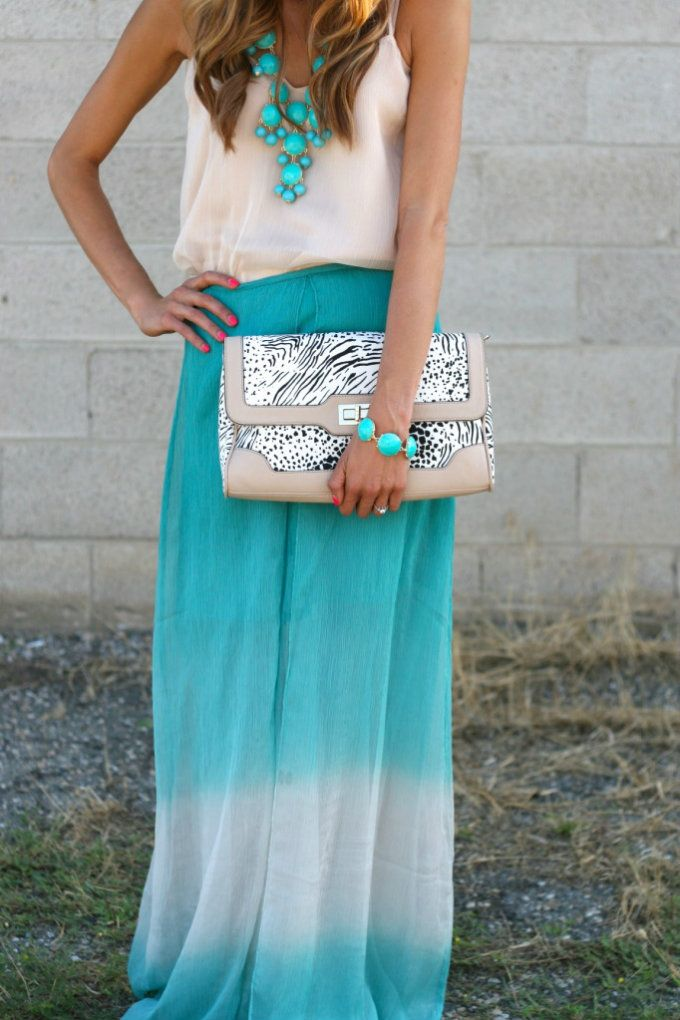 Turquoise ombre maxi skirt, chiffon tank, and statement necklace. I want this outfit!