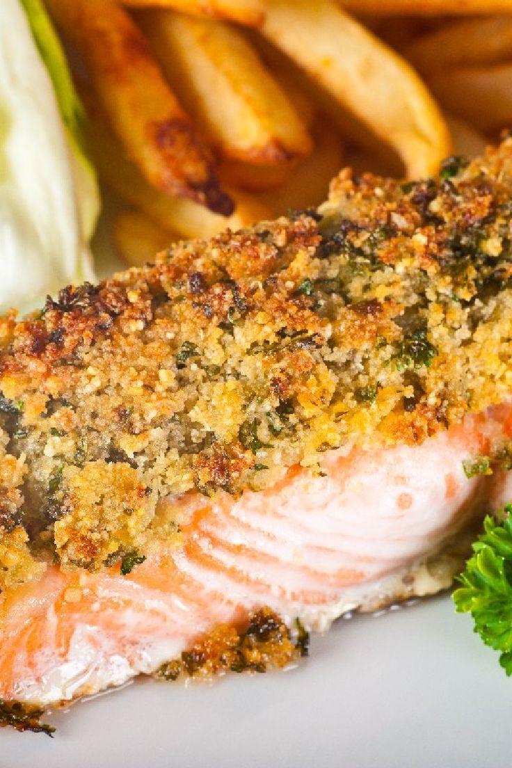 Lemon-Glazed Salmon with Garlic Panko   KitchMe