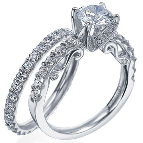 verragio detailed engagement ring with brilliant
