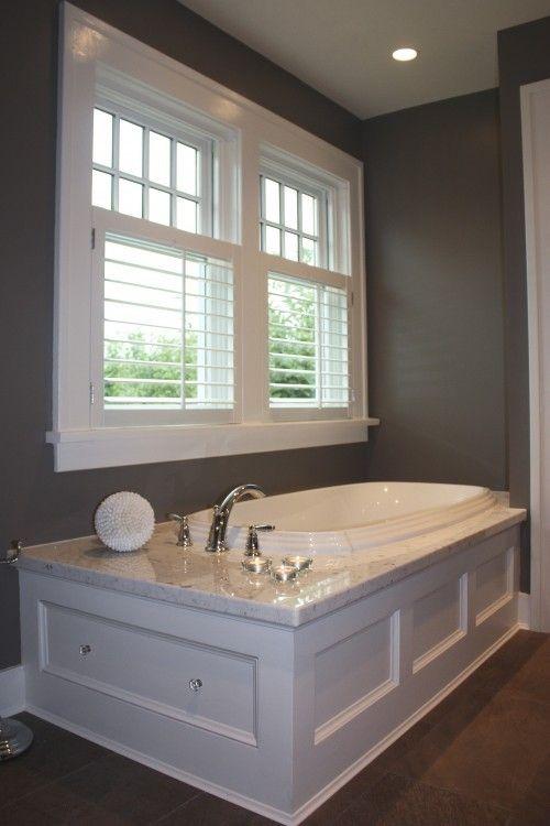 Bathroom window option shutters bath pinterest for Bathtub in bathroom