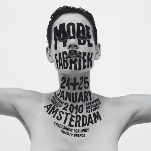 Lettering for Modefabriek, Amsterdam, offset print, 2010. Photography by Philippe Vogelenzang.