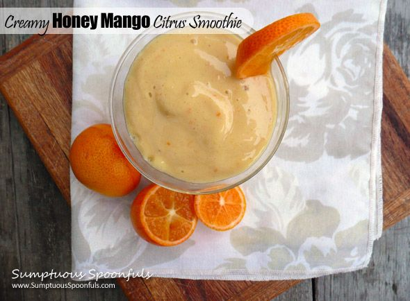 Creamy Honey Mango Citrus Smoothie ~ Sumptuous Spoonfuls #smoothie # ...