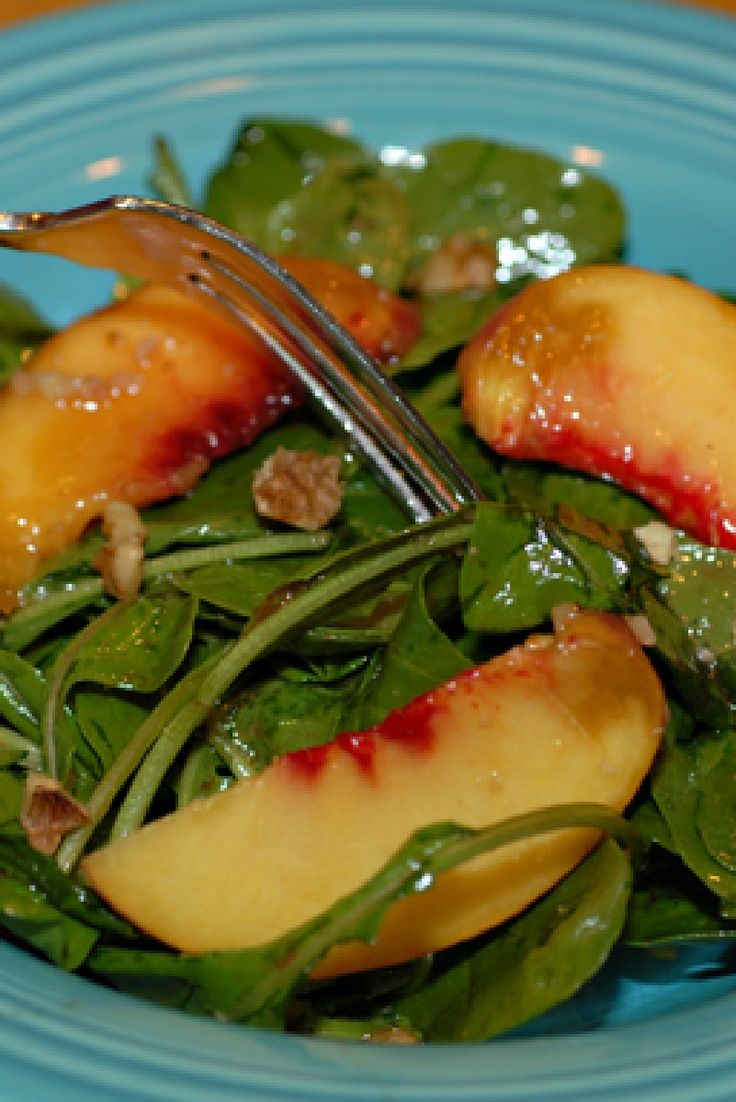 Arugula, Peach, and Cheddar Salad with Honey Mustard Vinaigrette # ...
