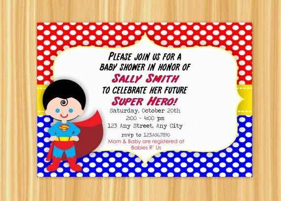 custom printable superman super hero theme baby shower invitation