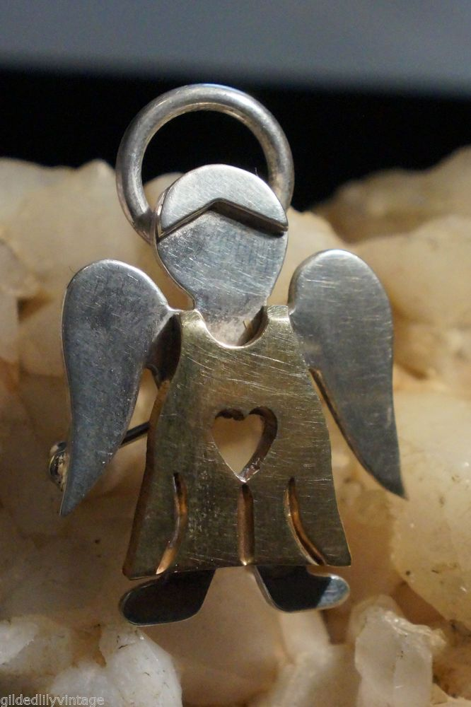 Mexican Silver Brass Angel Brooch Pendant Vintage Jewelry Signed 925 ...