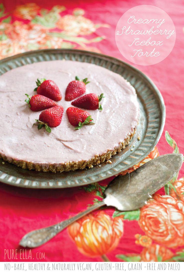 No Bake creamy strawberry icebox torte: almonds, raisins, coconut ...