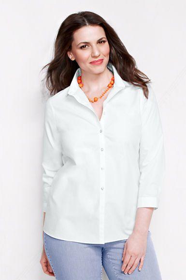Women 39 s 3 4 sleeve solid supima no iron shirt for No iron white shirt womens