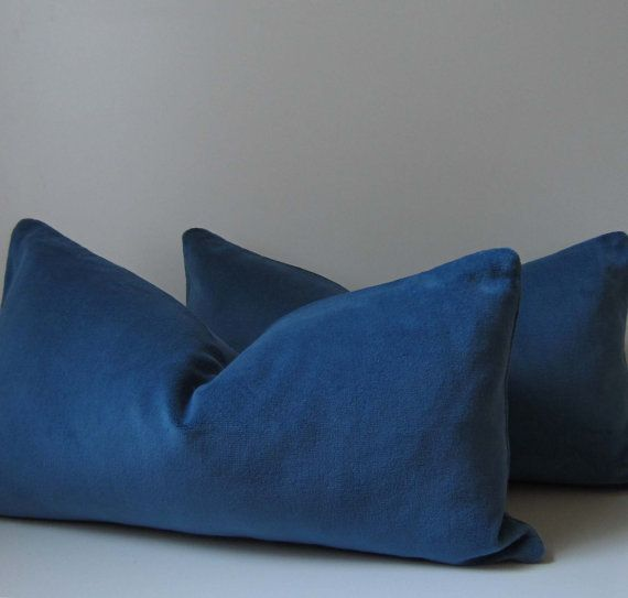 French Blue Velvet Pillow - Decorative Pillow Cover - 12 x 22 inch -F?