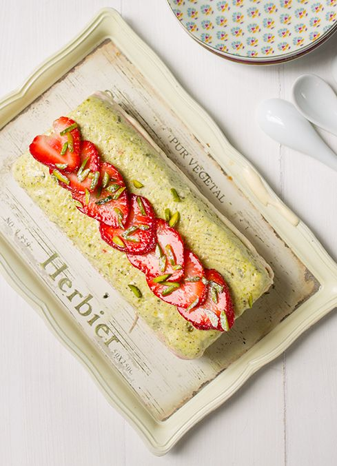Strawberry, Pistachio & Vanilla Layered Semi Freddo