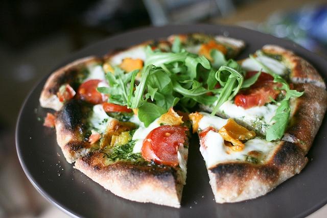 Pesto Pizza Sourdough base with wild garlic pesto, tomato, butternut ...