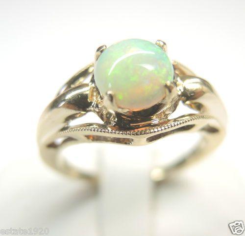 Antique Opal Engagement Ring 10K Solitaire Vintage Estate Esemco SZ 5…