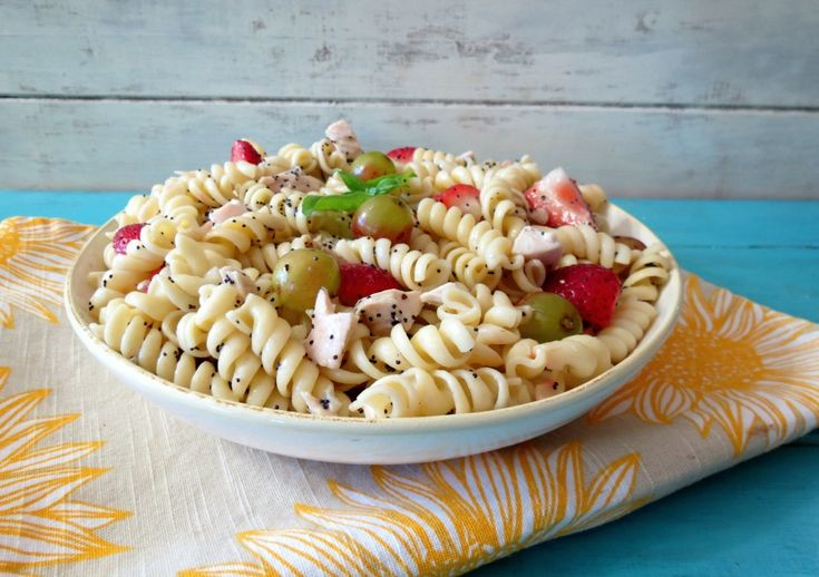 Strawberries and Chicken Pasta Salad with Poppy Seed Dressing | Recipe