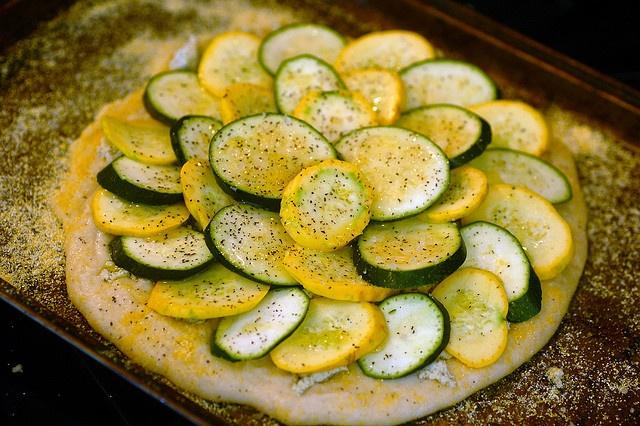 Zucchini pizza with homemade lemon herb tofu goat cheese and gluten ...