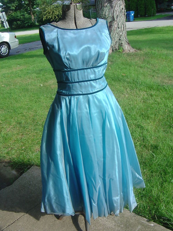 Vintage 50's BLUE ORGANDY SHELF BUST DRESS S Party Cocktail