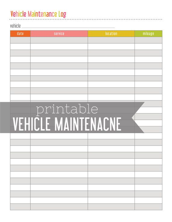 Comprehensive image in car maintenance log printable