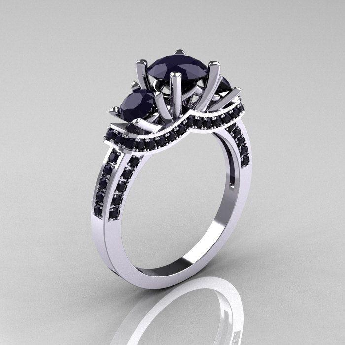 french platinum three stone dark blue sapphire wedding