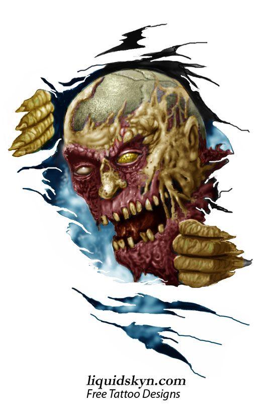 Skull Ripping through Skin Tattoo