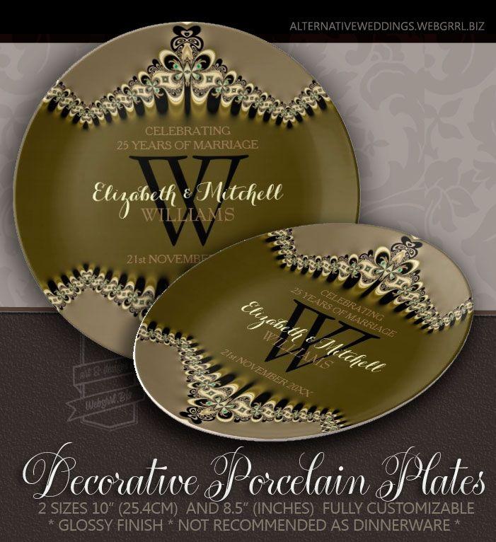 Modern Vintage Monogrammed Wedding Anniversary Gift Porcelain Plate # ...