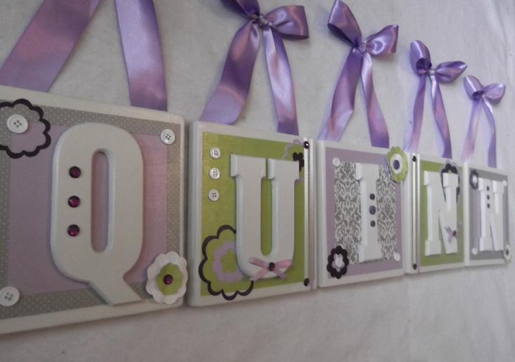 Lilac Green Flowers Nursery Wall Letters - Hanging Wooden Wall Letters -  Personalized Custom Nursery Wall  Letters - Kids Baby Letters. $16.95, via Etsy.