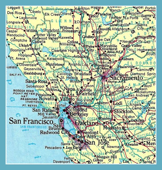 Fridge Magnet Map Of San Francisco California And Vicinity