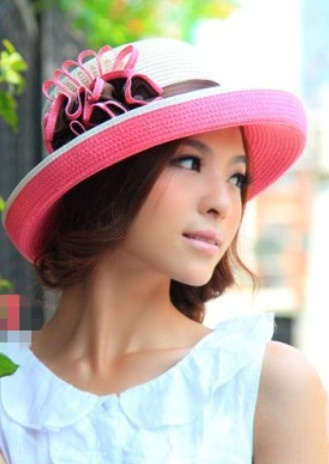 Wholesale Casual & Trendy Flower Straw Hat----Rose-red  top dresses