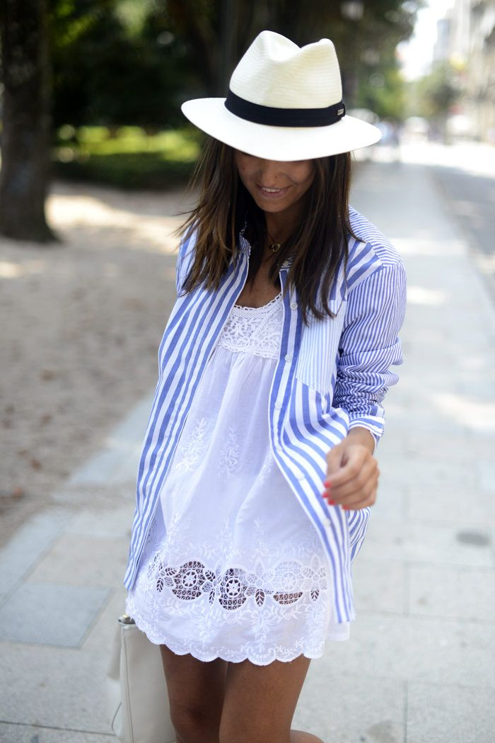 Summer Style. Who would think? A cute, striped shirt over a white summery dress. Adorbs.