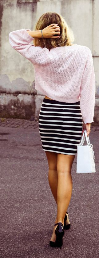 Pink Knitted Sweater + Stripes Skirt.
