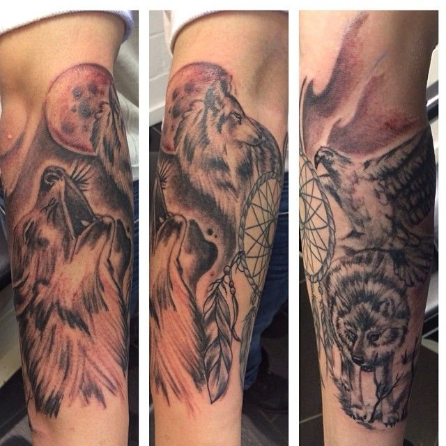 Gallery For > Wolf Howling At The Moon Tattoo